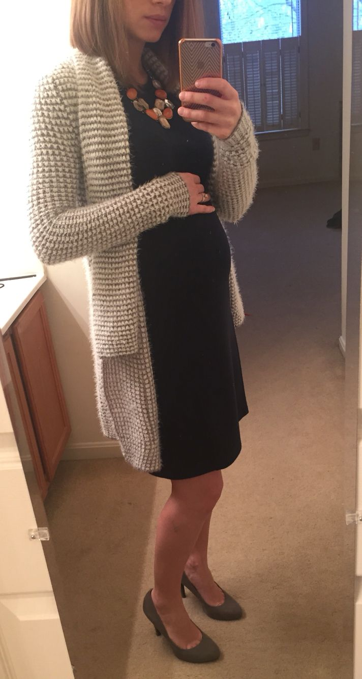 Navy cotton sheath dress, long gray and white open cardigan - maternity outfit for work