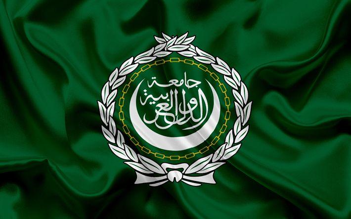 Descargar fondos de pantalla La bandera de la Liga Árabe, verde bandera, emblema, logotipo, organizaciones Árabes, de la Liga Árabe