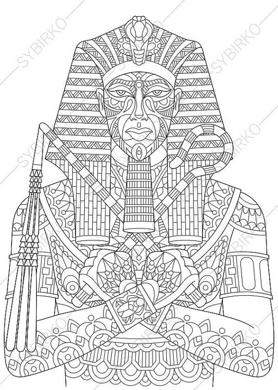 Egyptian Pharaoh Tutankhamun 2 Coloring Pages Book For Kids And Adults Instant Download Print