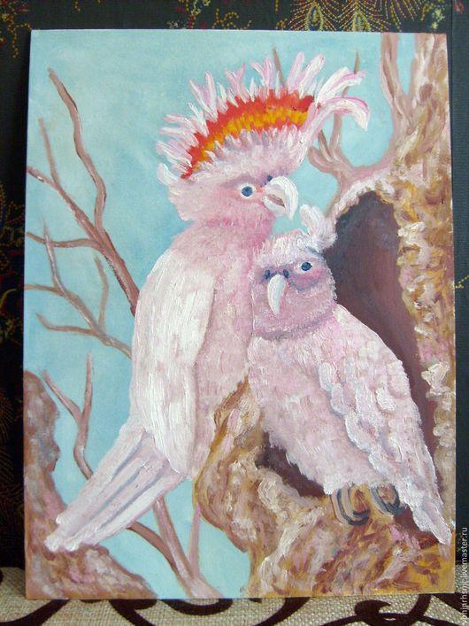 """Животные ручной работы. Ярмарка Мастеров - ручная работа. Купить Картина """"Розовые Какаду"""". Handmade. Картина, подарок на любой случай"""