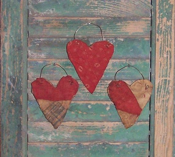 Primitive Heart Ornaments made from antique quilt by Prairie Primitives Folk Art, set of 3 ornaments.