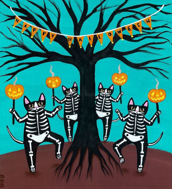 Celebration of Halloween Skeleton Cats Original Painting by KilkennycatArt (Ryan Conners)