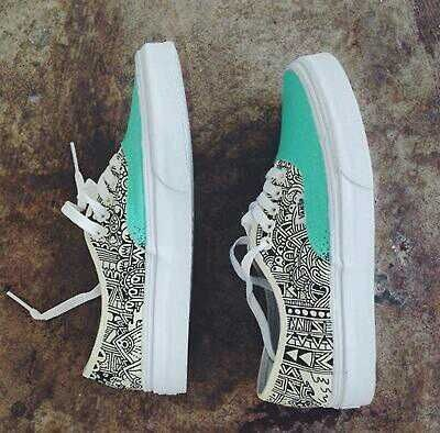 turquoise black and white pattern vans