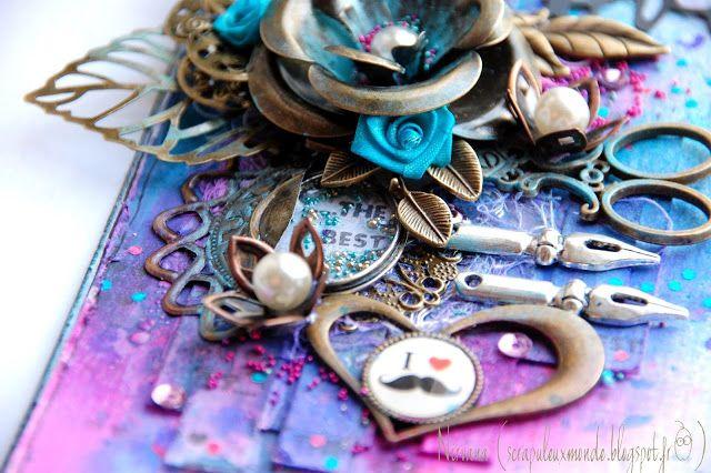 Mon Scrap'uleux Monde! Avec les embellissements du scrap'uleux stock, et les encres Izink dye d'Aladine!