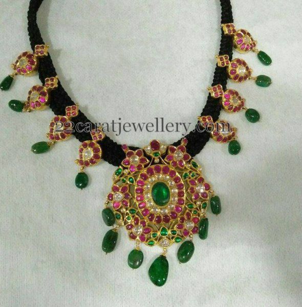 Black Thread Necklace with Mangos - Jewellery Designs