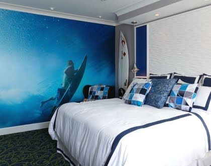 Surf theme bedroom surf theme mural california tacos for Surfboard decor for bedrooms