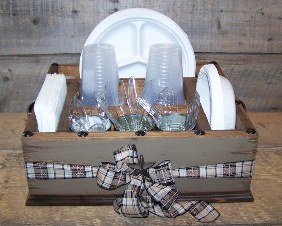 Khaki colored party wood organizer with plaid ribbon great for