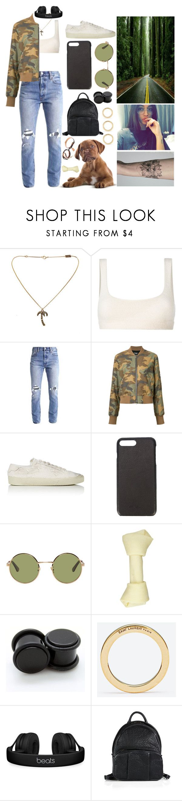 """walking my dog"" by sabri-belieber ❤ liked on Polyvore featuring Yves Saint Laurent, Yeezy by Kanye West, Levi's, AMIRI, Rick Owens, Louis Vuitton, Beats by Dr. Dre and Alexander Wang"