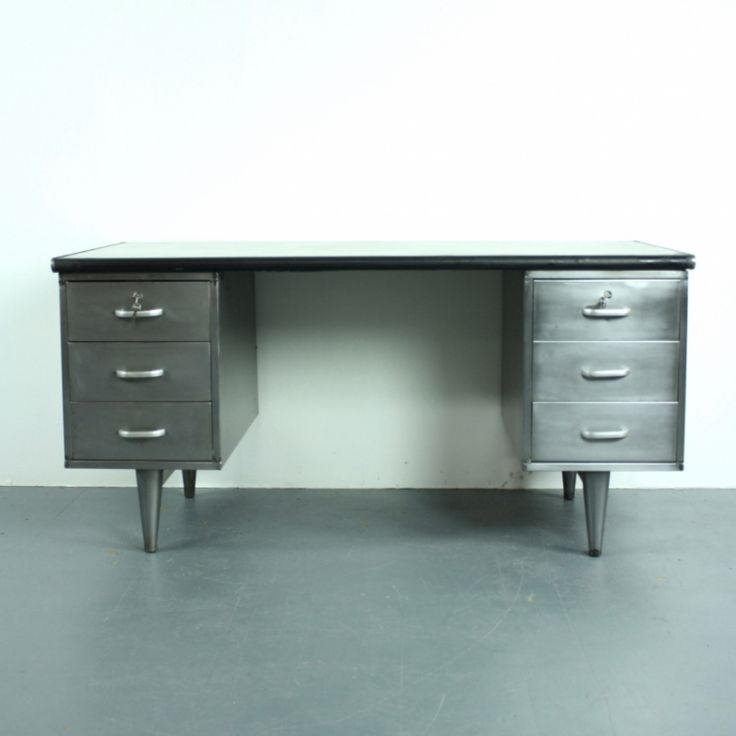 Vintage Mid Century Stripped and Polished Steel Desk