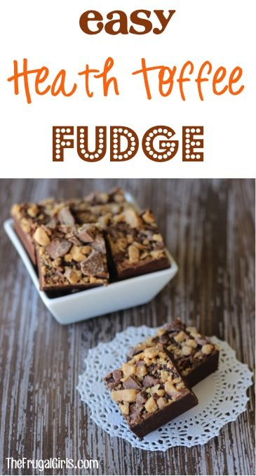 Easy Heath Toffee Fudge Recipe! ~ from TheFrugalGirls.com ~ just 3 ingredients and so simple to make! This delicious fudge makes a great little gift to share with neighbors and friends, too! #recipes #thefrugalgirls