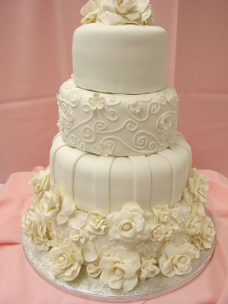 White Floral Tiered Wedding Cake BitterSweets