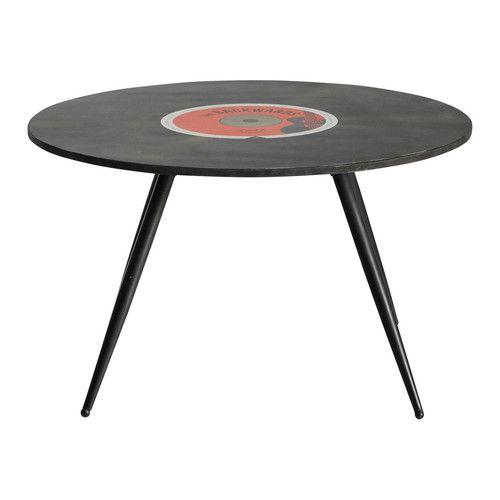 Mesa baja redonda vintage de madera negra Diam. 70 cm