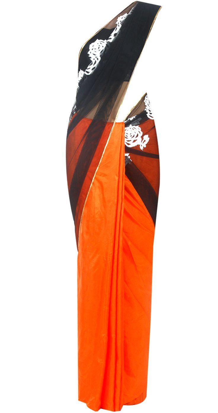 Orange and black rose print sari by MASABA