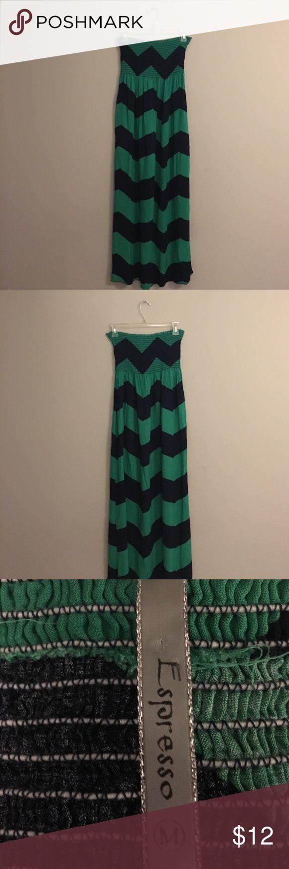 👗 Maxi chevron dress Green and navy blue chevron dress Espresso Dresses Maxi