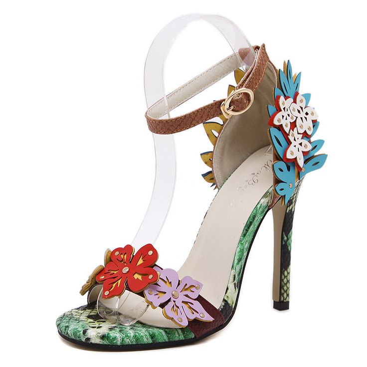 MoBeiNi Women Pumps High Heels Sandals Appliques snake texture Ankle Strap Shoes party Woman 2017 New. Click visit to buy #WomenHighHeels