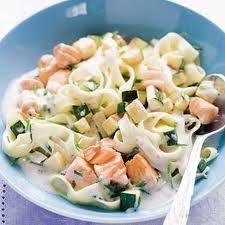 Pasta pesto met zalm en tonijn