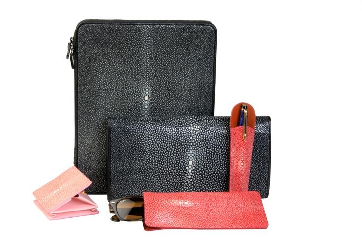 Our shagreen goods collection. // Notre collection de produits en galuchat. Available on // Disponible sur : http://www.galerie-galuchat.com/eboutique