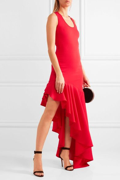 Michael Lo Sordo - Legion Asymmetric Ruffled Stretch-knit Maxi Dress - Red - UK10