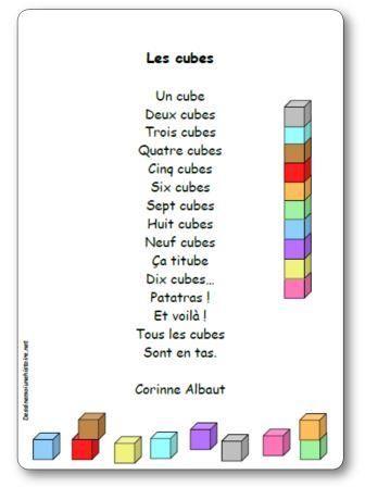 Paroles de la poésie Les cubes de Corinne Albaut : Un cube, Deux cubes, Trois cubes, Quatre cubes, Cinq cubes, Six cubes, Sept cubes, Huit cubes