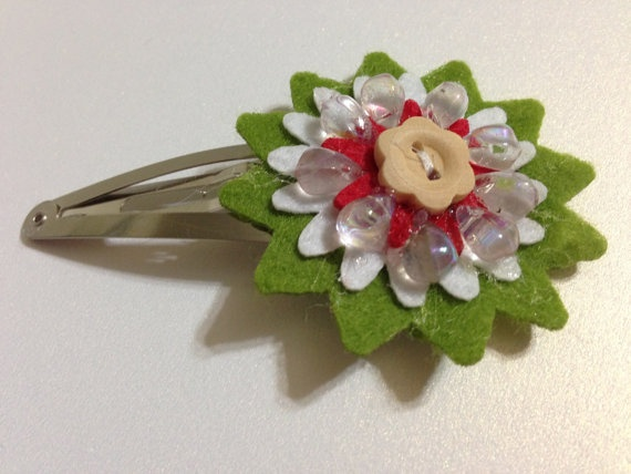 Green and Red Christmas Hair Clip Felt Flowers by BlissfulPetals