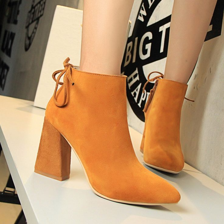 Winter Autumn New Thin High Heels Pumps Women Fashion Boots Shoes Elegant Sexy Comfortable Ankle Boot Shoes Black SMYDS-A1004 //Price: $US $29.99 & FREE Shipping //     #fashion