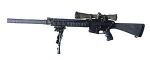 SR-25, Eugene Stoner's 1990's update to the AR-10. Semi-auto rifle in 7.62 NATO, 20 inch barrel, is the basis for the SOCOM Mk 11 sniper rifle, now being phased out.