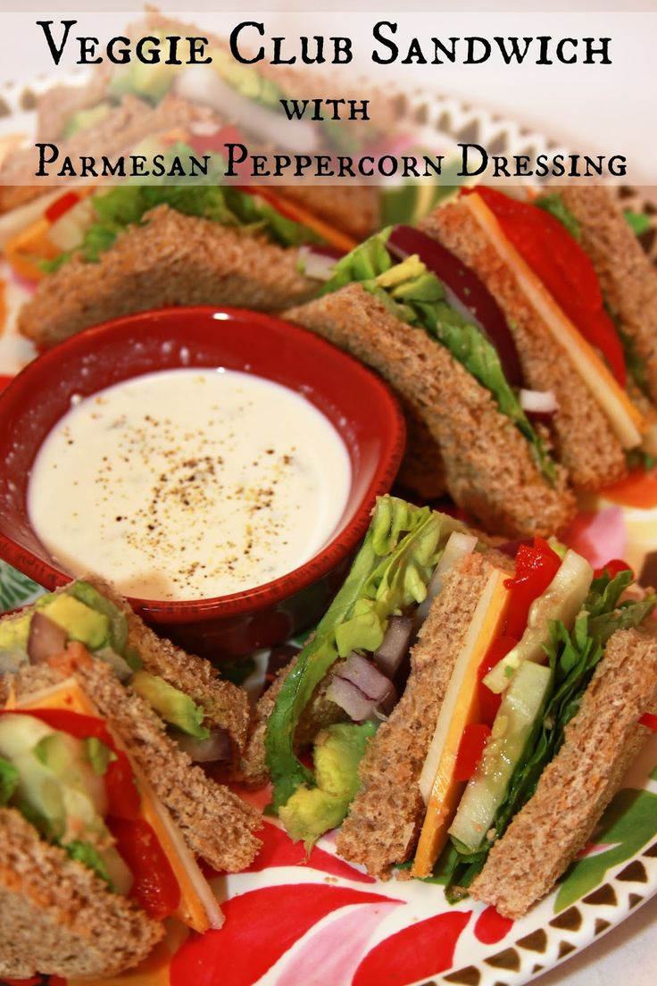 Veggie Club Sandwich with Parmesan Peppercorn Dressing - great for a Meatless Monday family meal!