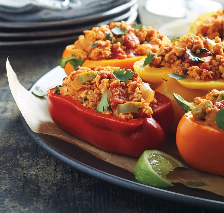 Enjoy these high-protein, low-carb stuffed peppers in 40 minutes or less — no baking required.