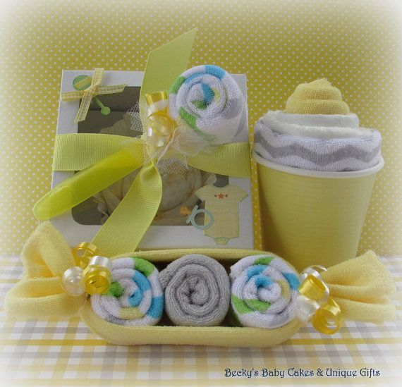 Neutral Onesie Cupcake Gift Set Washcloth by BeckysBabyCakesandUn