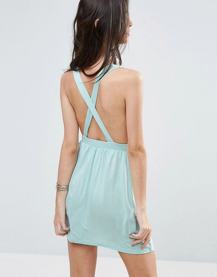 ASOS PETITE Cross Back Jersey Mini Beach Dress - Blue