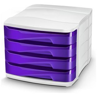CEP 4 Drawer Desktop Storage - Purple