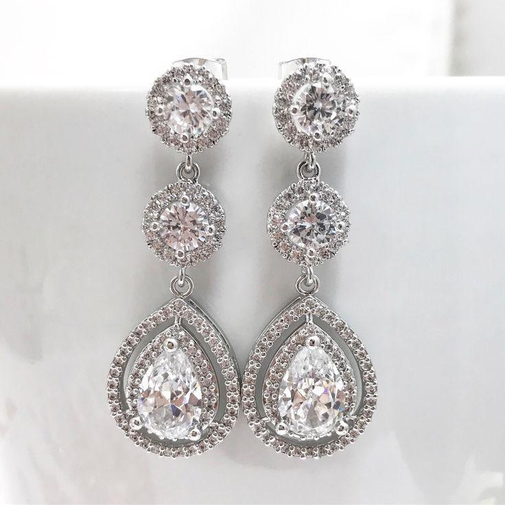 SWEETV Teardrop Earrings Cubic Zirconia Fish Hook Dangle Earrings-Ideal Jewelry Gifts for Brides Prom Fomal Dress TVjRAApj