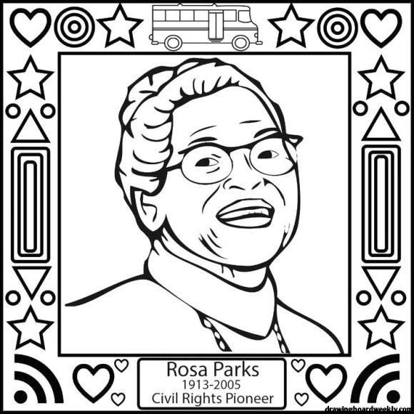 Rosa Parks Coloring Page Black History Month Preschool Black