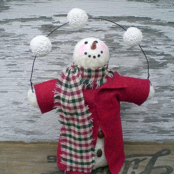 Primitieve Snowman Doll jongleren George door scaredycatprimitives