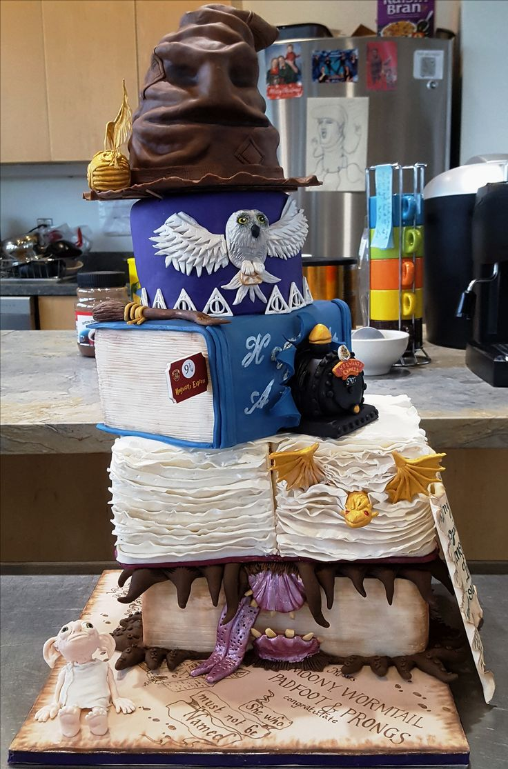 Five tier Harry Potter themed cake, created for a colleague's last day at work on June 29, 2017.  Enjoyed by all at the Living with Lakes Centre!
