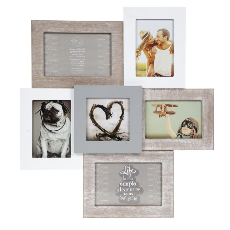 Display your cherished memories in this Sennen 6 Multi Aperture Frame. Connecting 6 apertures together, this grouped photo frame varies with different shades of greys, whites and browns. This photo frame can hold 2 10x15cm, 2 9x13cm and 2 10x10 photos. Colour & Style Grey, brown and white Height Width Depth 44cm 40cm 2cm