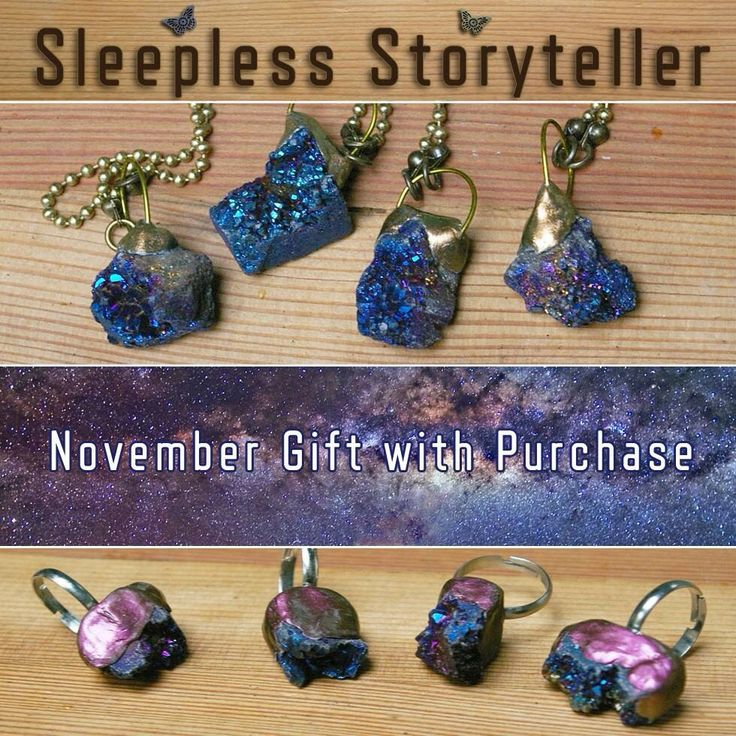 Astral Asteroids have crash-landed at Sleepless Storyteller! They are November's gift with purchase while supplies last! (Valid for orders $50 USD and up.) Just add a note to seller specifying ring or pendant.