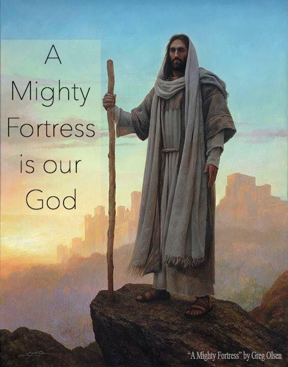 A mighty fortress is our God, a tower of strength ne'er failing. A helper mighty is our God, o'er ills of life prevaili… | Mighty fortress,  Jesus art, Biblical art