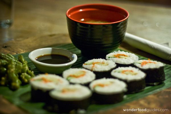 Yummy Vegan sushi with vegan miso soup! If Japanese discover it they will forget all about salmon and tuna :-) #bali #indonesia #vegetarian #vegan #food #restaurant
