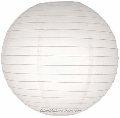 "36"" White Round Paper Lantern, Even Ribbing Hanging (Light Not Included) on Sale Now! 