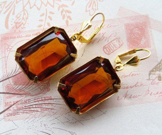 Vintage glass earrings amber earrings orange topaz by Sofiasbijoux