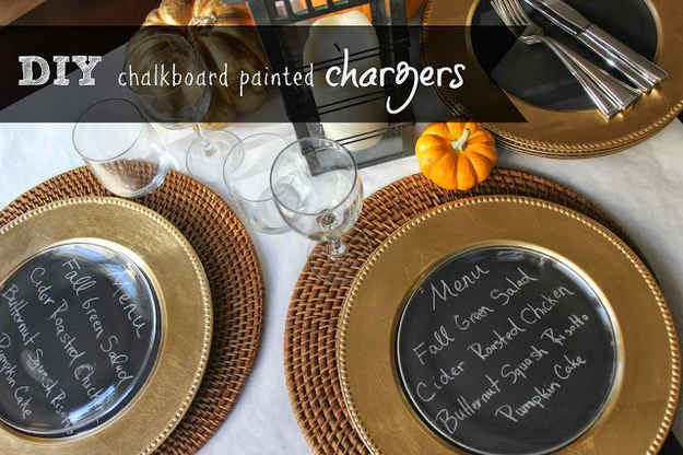 Write out the menu on chalkboard-painted chargers.