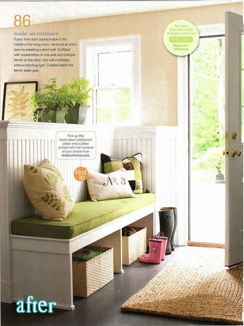 Create an entryway without major renovations. The short wall is awesome, but I also love that bench and the decor. #homedecor #entryway