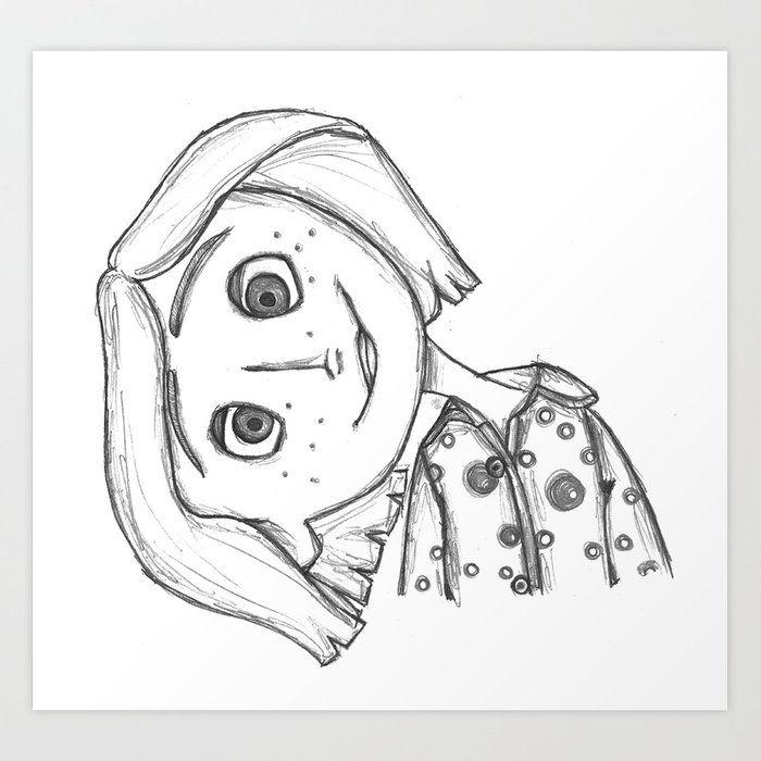 Coraline Jones Art Print By Pistachio X Small In 2020 Coraline Art Coraline Drawing Tim Burton Art