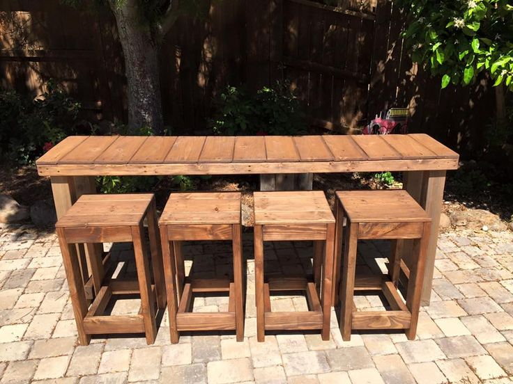 XL Pallet Table with 4 Matching Stools - 130+ Inspired Wood Pallet Projects | 101 Pallet Ideas - Part 9