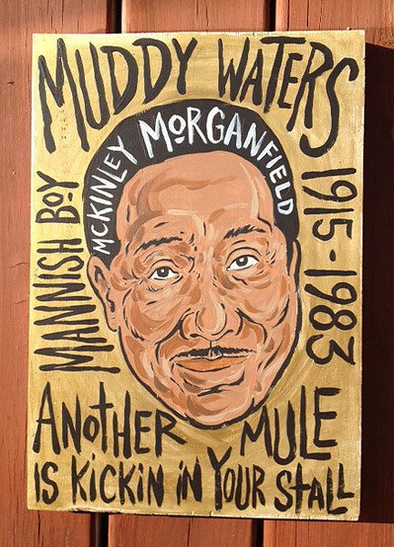 """11""""x16"""" blues music folk art painting of Muddy Waters by Grego from mojohand.com - thick wood - ready to hang on Etsy, $150.00"""