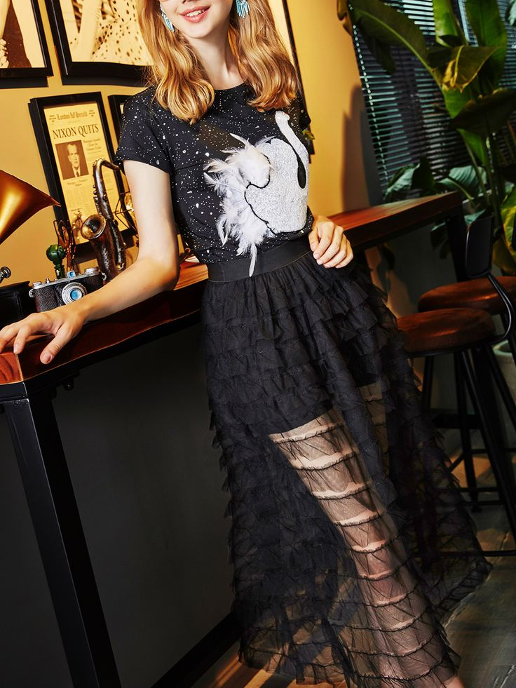 Swan Sequined Top With Pleated Sheer Skirt -SheIn(Sheinside)