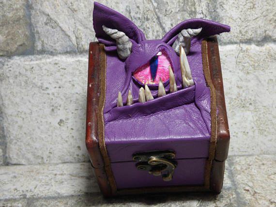 Desk Organizer Trinket Dice Mimic Box Small Storage Treasure Chest Stash Purple Leather Harry Potter Labyrinth Gamer MTG Card Box 264