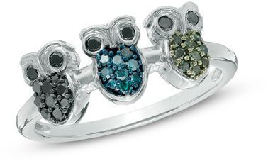 1/4 CT. T.W. Enhanced Black, Blue and Green Diamond Three Owl Ring in Sterling Silver