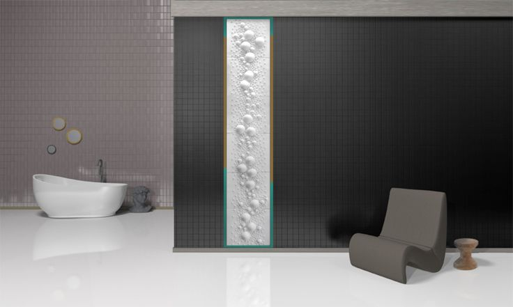 Łazienka, ceramiczny panel, biały panel, ściany w łazience, dekoracje ścienne, aranżacja łazienki. Zobacz więcej na: https://www.homify.pl/katalogi-inspiracji/22986/czym-wylozyc-sciany-6-ciekawych-propozycji